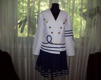 Lady Suit, Vintage Lady Suit, Marina Style Costume, Vintage Lady Marina Style Suit, Skirt and Jacket Suite, Vintage Lady Blazer and Skirt