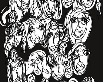 Faces A3 Art Print