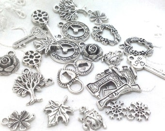 Charms - Flowers Hearts Keys Trees 24 (12 pairs) silver tone metal - jewelry making, collage, sewing crafts or scrapbooking 5.50 ship to USA