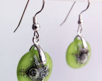 Amazon opaque glass and sterling silver 925 dangle hook earrings, bespoke kiln fired glass, made in the UK, mother's day gifts, green