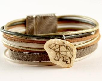 Cuff, bracelet, genuine leather cord white origami bear