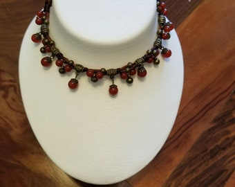 Beautiful dropped Carnelian and Brass beads on Brown Silk Thread- GORGEOUS!