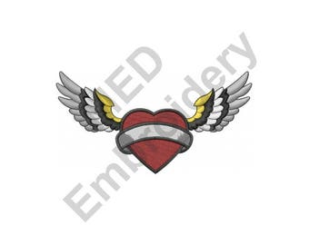 Heart And Wings Tattoo - Machine Embroidery Design
