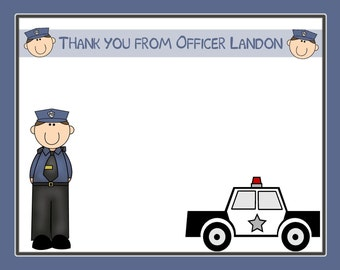 20 Personalized Thank You Cards - POLICE PARTY