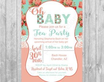 Mint & Coral Baby Shower Invitation - Digital