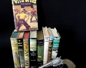 Western Cowboy Indian Mid Century Books for Decor - Book Stack - Wild West Book Collection - First Editions Autographed Book