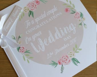 Personalised Wedding Congratulations card, Vintage, Shabby chic  / Celebrations, Glitter card, Keepsake,