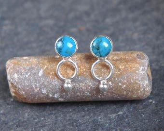 Turquoise stud earrings, Turquoise earrings December birthstone,  Turquoise gemstone earrings, Turquoise jewellery handmade by ARC Jewellery