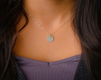 Sterling Silver Initial Necklace with Birthstone CHOOSE GEMSTONE- 12.7mm Disc, Personalized Necklace, Silver Monogram Initial Necklace