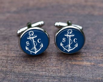 Cufflinks Anchor blue, Anchor Cufflinks, Men Silver Wedding Gift for Groom,Personalized Navy Blue Anchor Cuff, Royal anchors
