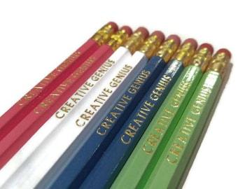 Creative Genius Pencils   Fun pencils   Hexagon Pencils   USA Made   Motivational Pencils   Nerd Pencils   Non toxic  