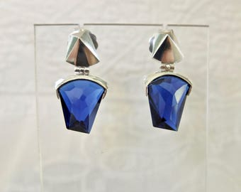 "Antworks Sterling Silver Crystal Earrings Art Deco Style ""Tetra"""