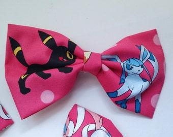 Pokemon Eeveelutions Bow - Eevee Hair Bow, Eevee Bow Tie, Eeveelutions Accessories, Geek Bow Ties, Geek Hair Bow, Geek Hair Accessories