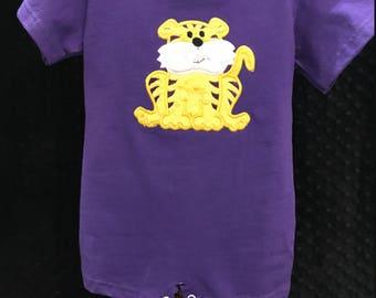 Purple Tiger Romper/LSU/LSU boys romper/football outfit/LSU tiger/tiger romper/LSUfootball romper/