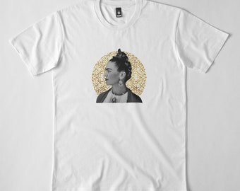 Frida kahlo with Arabic calligraphy background t shirt