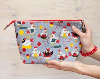 Knitting project bag, chickens, crochet bag, medium bag, wrist strap, zipper pull, knitting chickens, red, grey, yellow