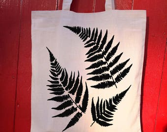 Fern leaves - printed cotton tote bag