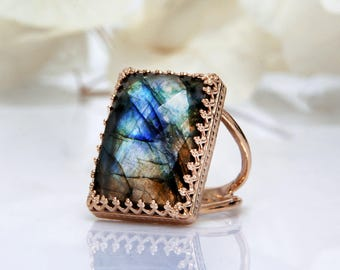ETSY BIRTHDAY SALE - Rose Gold Labradorite ring,gemstone ring,rectangular ring,large ring,big statement ring,natural stone ring,bridal ri