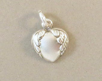 HEART WITH WINGS .925 Sterling Silver Charm Small Pendant Love Heaven New hr16