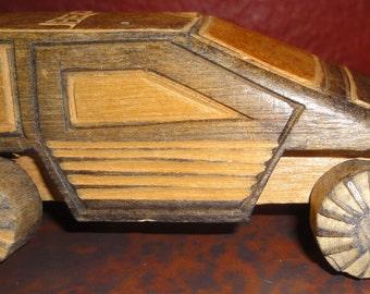 Folk Art Hand Carved Wood 4x4 Jeep