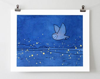 Owl and fireflies art print - barn owl drawing