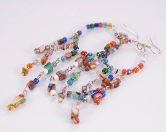Long Beaded Earrings Rainbow Dangle Drop Earrings For Craft