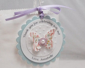 Butterfly Thank You Favor Tags- Girl 1st Birthday Garden Party- Set of 12