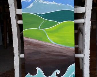 Original Landscape Stylized Acrylic Painting on stretched canvas