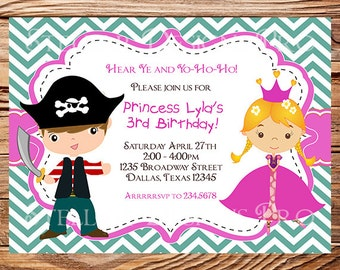 Princess and Pirate Birthday Invitation, BOY, GIRL, Princess, Pirate Birthday, Teal, Pink, Chevron Stripes, Printable, 108
