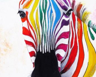 Zebra Print - Zebra Art Print - Zebra Painting - Stripes Art Print - A4 - A3