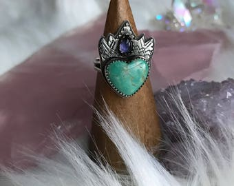 OOAK- Ariel- Sterling Silver Jewelry Turquoise and Iolite Ring- Silversmithed, size 8.5, oxidized silver, turquoise heart, crystal crown