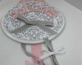 Gray and White Damask  with Pink Bow Holder