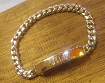 "Vintage Speidel Silver ""Jill"" Identity Bracelet"