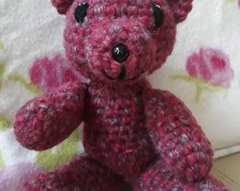 Handmade crochet teddybear, mohair burgandy teddybear, teddy bear plushie, teddybear soft toy