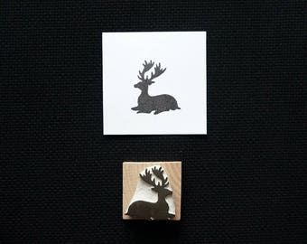 Peaceful Stag - Silhouette - Hand-Carved Rubber Stamp