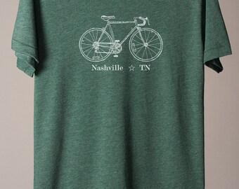 Nashville tshirt, Nashville TN, Tennessee tshirt, Nashville bike tee, city bike tees