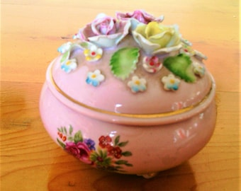 """Vintage Pink Porcelain Music Box with Hand Crafted Roses, Plays""""To Each His Own"""""""