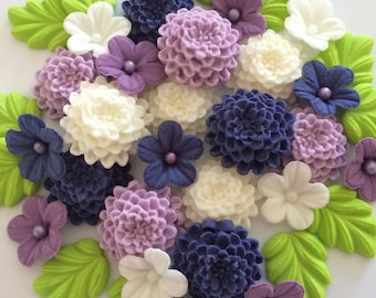 PURPLE & CREAM Edible Sugar Flowers Cake Cupcake Decorations Chrysanthemus
