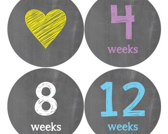 Pregnancy Stickers, Maternity Stickers, Baby Bump, Belly Stickers, Chalkboard Design (B)