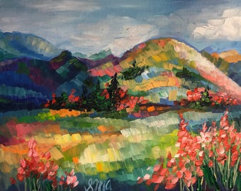"""Original Oil Painting Abstract Colorful Landscape Mountains Flowers 8""""X10"""""""