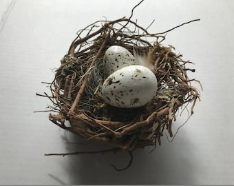Bird Nest with Hand Speckled Eggs . Twigs/Grass/Sticks . Rustic Nest . Spring/Wedding Home Decor . Fake Nest . Garden / Nature Wedding