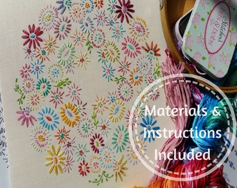 Definitive Beginner Traditional Transfer Embroidery Kit 'Beginner Blossoms' (Bright)*NEWBIES START HERE!*; Beautiful Kits By Maggie Gee