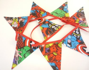 Handmade Marvel Superhero's  Bunting  2mt long   8 Flags