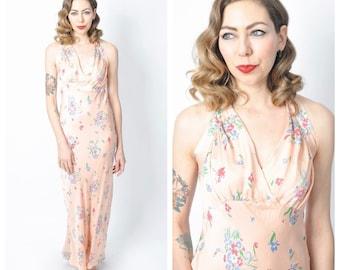 Vintage 1930's Bias Cut Floral Print Pale Pink Slip/ Long Silk Pink and Blue Slip/ Nightgown Lingerie Size Medium/Large