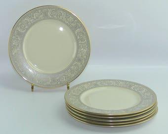 "6 Franciscan China Grey Renaissance Salad Dessert Plates 8-3/8"" Gold Trim"