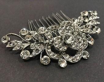 beautiful elegant wedding bridal flower hair comb crystal rhinestone bridal hair accessory