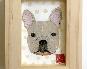 French Bulldog Art, Cream Frenchie Gift, ACEO Original, Framed or Unframed