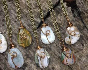 Ocean Jasper necklace, orbicular jasper , ocean jasper,  gemstone necklace