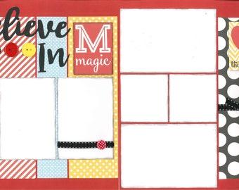 12x12 BELIEVE IN MAGIC scrapbook page kit, disney scrapbook pages, disney scrapbook page kit, 12x12 scrapbook page, scrapbook page kit