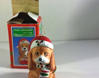 House of Lloyd Vintage Hand Painted Porcelain Bisque Christmas Dog Figurine Ornament 1988 New in Box